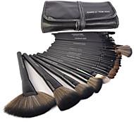Make-up für You® 32 Stk. Make-up Pinsel aus Ponyhaar im Set, Schwarze Foundation / Puder / Rougepinsel / Stirn / Wimpern / Eyeliner
