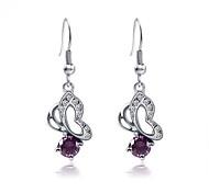 Luxury Drop Earrings for Women Vintage Crystal Butterfly Drop Earrings Fashion Jewelry Accessories Silver Plated