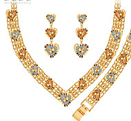 Beautiful Heart Shape 18K Gold Plated Necklace&Bracelets&Earrings Fashion Thick Bridal Women Gift Wholesale NB60048