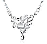 Classic Women's Silver Plated Flower Pendant Necklaces Creative Gift for Girl (Color:Silver)