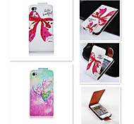Fine Patten Up-down Turn Over PU Leather Full Body Case for iPhone 4/4S