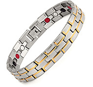 Healing Magnetic Bracelet Men 316L Stainless Steel 3 Health Care Elements(Magnetic,FIR,Germanium)Gold Hand Chain