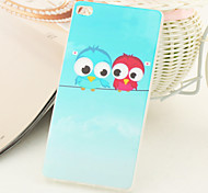 Double Owls Pattern TPU IMD Material Back Cover for Huawei P8