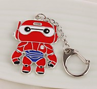Cartoon Movie Big Hero Superhero Metal White Enamel Baymax Keychain Fashion Silver Plated Women Men Key Chains