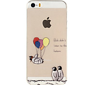 Penguin Balloon Pattern TPU Soft Phone Case for iPhone 5/5S