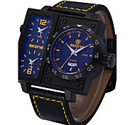 SKONE ® Men's Sports Watches Fashion PU Leather Strap Wrist Watch Big Face Square Dial 3 Time Zone Quartz Watch Cool Watch Unique Watch