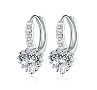 Ms Romantic Heart-shaped Zircon Ear Clip Silver Plated Earring Clip Earrings Party / Daily 1 pair