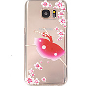 bloemenmeisje patroon TPU hulp Cover Case voor Galaxy S7 / galaxy S7 edge / galaxy s7 rand plus