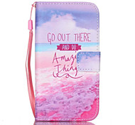 Red Beach Pattern PU Material Card Lanyard Case for Samsung Galaxy S7/S7Edge