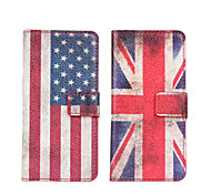 American or British flag Leather case Cover Wallet Card Slot Case for HTC One Mini M4