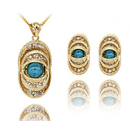Women's Golden Plated Necklace and Earrings Set
