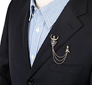 Men's Fashion Vintage Skull Ox Horn Brooch