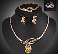 Lucky Doll Crystal Gem 18K Gold Plated Crystal Rhinestone Tassel Necklace & Earrings & Bracelet & Ring Jewelry Sets