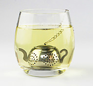 Teapot Shape Tea Strainer Tea Infuser with Mini Plate Stainless Steel