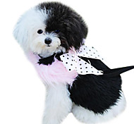 Dog Harness / Leash Keep Warm Bowknot Black / Pink Textile