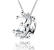 Lureme® Korean Fashion 925  Sterling Silver  Crown Pendant Necklace