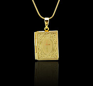 18K Real Golden Plated Photo Box Cross Pendant