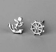 925 Silver Anchor Ship Plate Stud Earrings