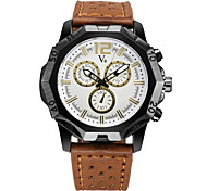 Men's Fashion Analog Display Leather Band Quartz Watch Cool Watch Unique Watch