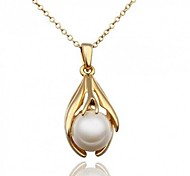 Women Necklace ELegant Crystal Paw Pearl Drop Pendant Necklace(Assorted Color)