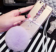 LADY®Butterfly Rhinestone Rex Rabbit Fur Ball  Case for iphone6/6s(4.7)