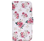Peony Flower Painted PU Phone Case for iphone5SE