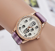 L.WEST Ladies' Plaid Strap Skull Diamonds Quartz Watch Cool Watches Unique Watches