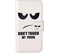 Don't Touch My Phone Pattern Embossed PU Leather Case for iPhone 5/iPhone 5S/iPhone SE