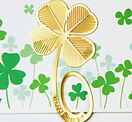 2PCS Vintage Bookmarks Cartoon Clover Plated 18K Gold Share Tab For Books Metal Bookends Gift(Style random)