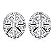 lureme®Fashion Style Silver Plated Round Shaped Stud Earrings