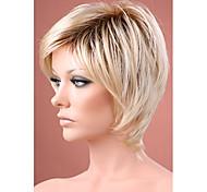 ombre perruque de cheveux blonds courts droite avec les racines sombres perruques de cheveux synthétiques pour les femmes Livraison