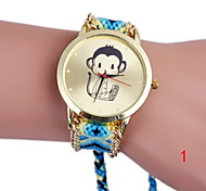 Ladies Fashion Cute Little Monkey Rainbow Colored Wool Knitting Watch