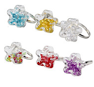 HUALUO®Ms. Ring Fashion pentagram glass filled elegant multicolor CZ