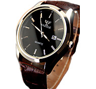 Yazole Luminous Hands Business Quartz Watch Leather Men Wristwatch Auto Calendar Casual Watch Water Resistance