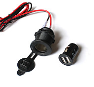 Dual USB Motorcycle Automobile Power Supply Charger Waterproof Port Socket