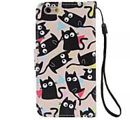 Multi-Cat Pattern PU Leather Material Phone Case for iPhone 6/iPhone 6S