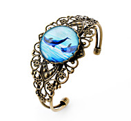 Lureme® Vintage Jewelry Time Gem Series Ocean Dolphin Antique Bronze Hollow Flower Open Bangle Bracelet for Women