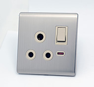 Classic Stainless Steel wire Drawing Round Hole Switch Socket
