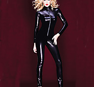 Women's Solid PVC Full Sleeve Catsuit Outfit