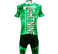 PaladinSport Men 's Cycyling Jersey + Shorts Bike Suits for the for green DT627 lightning