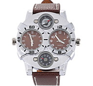 Men's Military Fashion Double Time Leather Band Quartz Watch Cool Watch Unique Watch