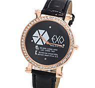 montre de mode unisexe bonne surface de disque de diamant noir montre à quartz PU ceinture en cuir