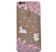 White Rabbit Cherry Coloured Drawing Slim TPU Material Phone Case for iPhone 6/6S
