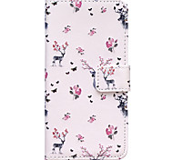 Flowers Deer Pattern Embossed PU Leather Case for iPhone 6 Plus/ iPhone 6S Plus