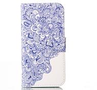 flor azul padrão de capa de couro pu com slot para cartão e ficar para iPhone 6 6s / iphone