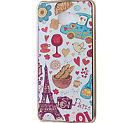 Paris Cartoon Mirror Surface Relief Frame TPU for Samsung A7(2016)