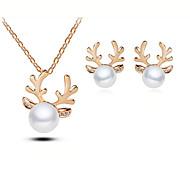 European Style Fashion Elegant Shiny Rhinestone Pearl Antlers Necklace Earrings Set