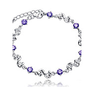 Women's Bracelet Sterling Silver Plated  Sample AAA Zircon Chain Bracelet Wedding for BrideImitation Diamond Birthstone