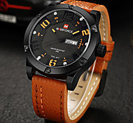 Men's Military Fashion 3D Analog Date Day Leather Band Quartz Watch Cool Watch Unique Watch