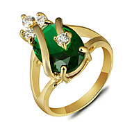 2016 Luxurious Imperial Crown 18K Gold Plated Green Engagement Rings For Women